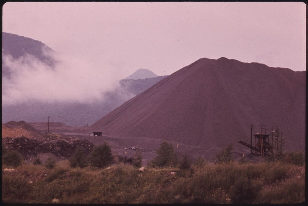 The tailings from when the mining operation was in full swing towered over the landscape.