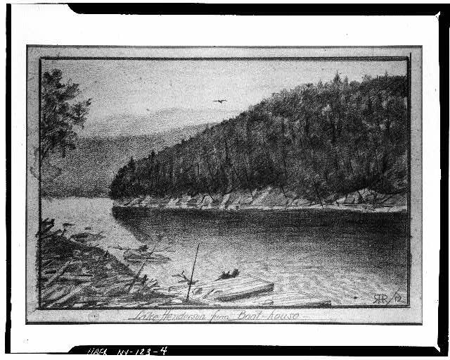 R.H. Robertson, pencil and charcoal sketch, Lake Henderson, from Tahawus Club boat dock, ca. 1914. Library of Congress collection.